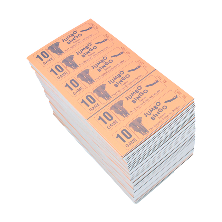 Jumbo Bingo Ticket Booklets, 6 to View, 10 Game