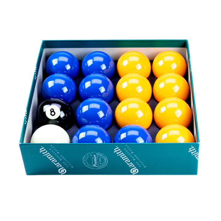 "Blue & Yellow Aramith 2"" Ball Set With 1 7/8"" Cue Ball"