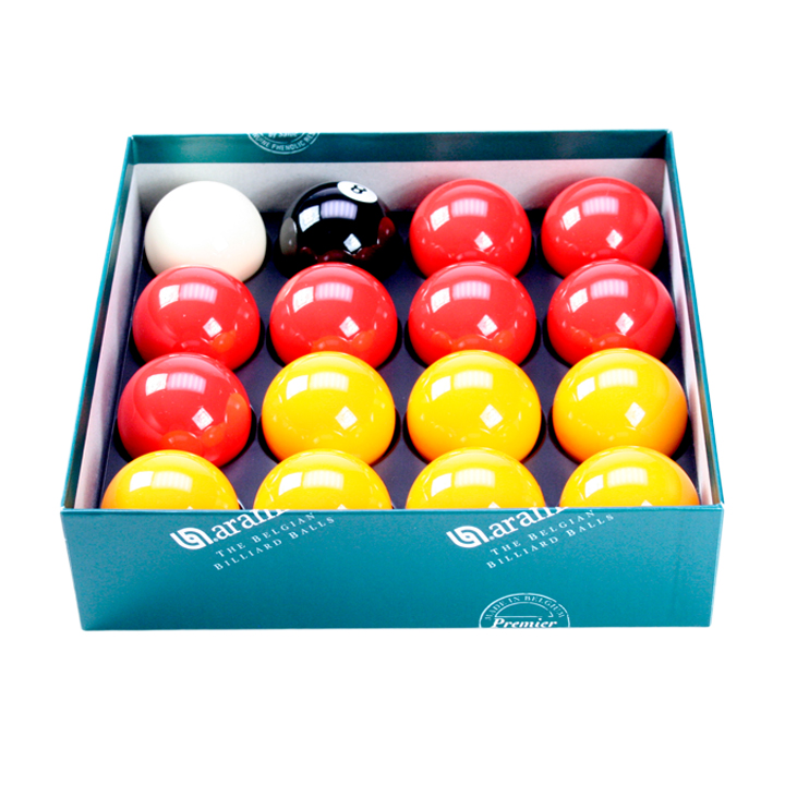 "Red & Yellow Aramith 2"" Ball Set With 1 7/8"" Cue Ball"